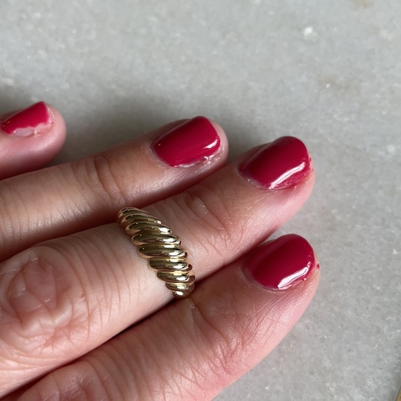 Solid 14k gold croissant pinky ring